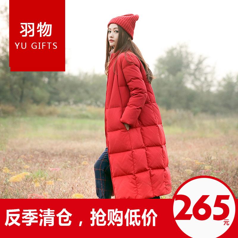 红色羽绒服 羽物欧美冬装红色立领茧型过膝加长加厚羽绒服女反季中长款圣诞_推荐淘宝好看的红色羽绒服