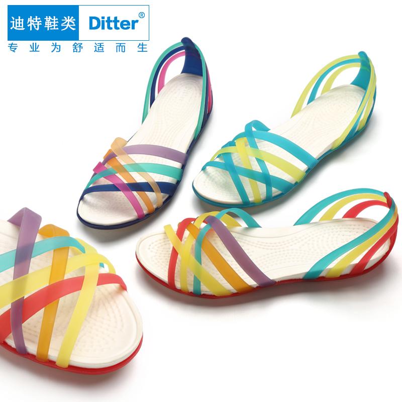 女凉鞋 DITTER2017洞洞鞋女凉鞋编织罗马凉鞋沙滩鞋休闲花园七彩防滑凉鞋_推荐淘宝好看的女凉鞋
