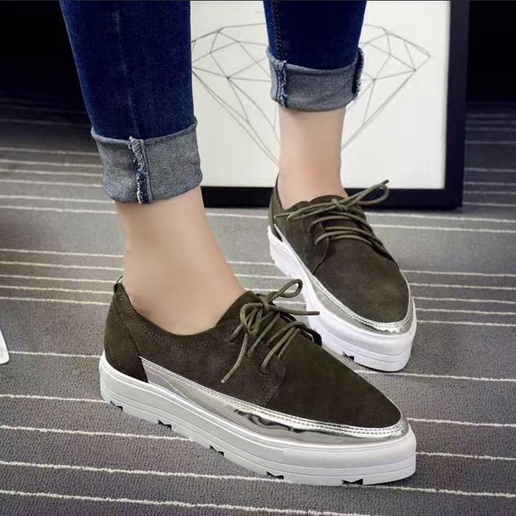 绿色松糕鞋 尖头系带单鞋平底中跟女鞋新款真皮懒人鞋松糕厚底鞋墨绿休闲鞋子_推荐淘宝好看的绿色松糕鞋
