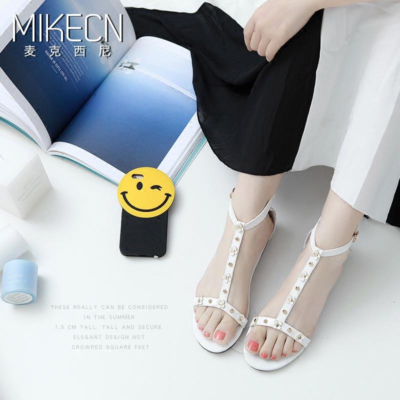 白色罗马鞋 MIKECN 2016新款白色罗马凉鞋女夏平底学生平跟一字带搭扣女鞋_推荐淘宝好看的白色罗马鞋