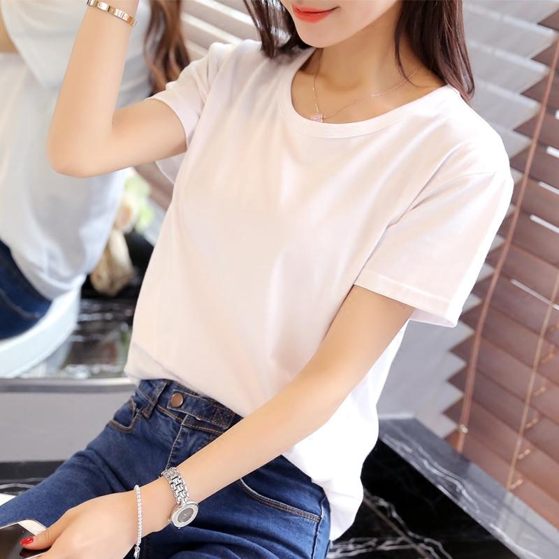 粉红色T恤 【天天特价】宽松T恤女纯色学生短袖情侣体恤白色圆领  t恤莫代尔_推荐淘宝好看的粉红色T恤