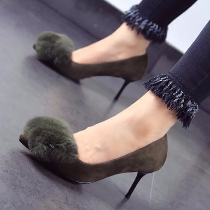 绿色高跟鞋 2017秋冬新款兔毛细跟高跟鞋尖头单鞋军绿色性感女鞋31 32 33小码_推荐淘宝好看的绿色高跟鞋