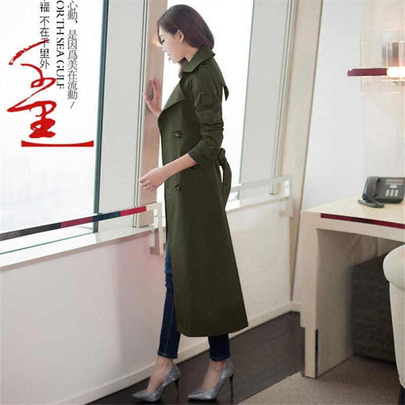 长款风衣 春装外套女2017新款韩版修身中长款风衣军绿色女士时尚正品女装_推荐淘宝好看的女长款风衣