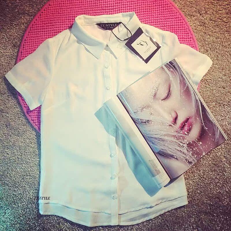 短袖雪纺衬衫 高品质双层不透方领雪纺衫衬衫女短袖白领职业白衬衫夏白衬衣尖领_推荐淘宝好看的女短袖雪纺衬衫