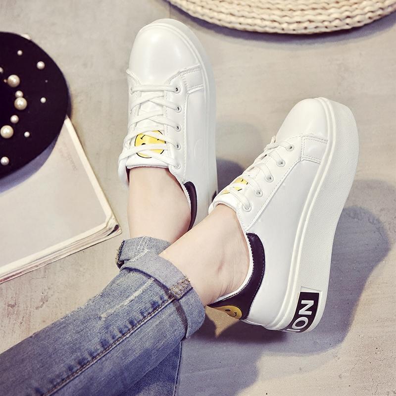 白色松糕鞋 2016韩国ulzzang白色板鞋秋季松糕笑脸鞋小白女鞋增高系带休闲鞋_推荐淘宝好看的白色松糕鞋