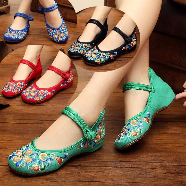 绿色平底鞋 老北京平底绣花鞋 民族风女鞋布鞋舞蹈鞋妈妈鞋牛筋软底 红色绿色_推荐淘宝好看的绿色平底鞋