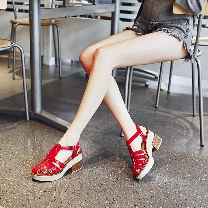 红色罗马鞋 2017夏季新款女鞋红色厚底高跟鞋真皮松糕粗跟罗马学生包头凉鞋女_推荐淘宝好看的红色罗马鞋
