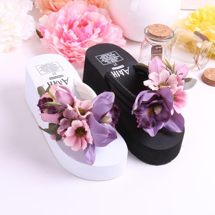 紫色厚底鞋 全国包邮手工紫色花朵黑白色厚底坡跟人字夹脚拖沙滩度假旅行拖鞋_推荐淘宝好看的紫色厚底鞋