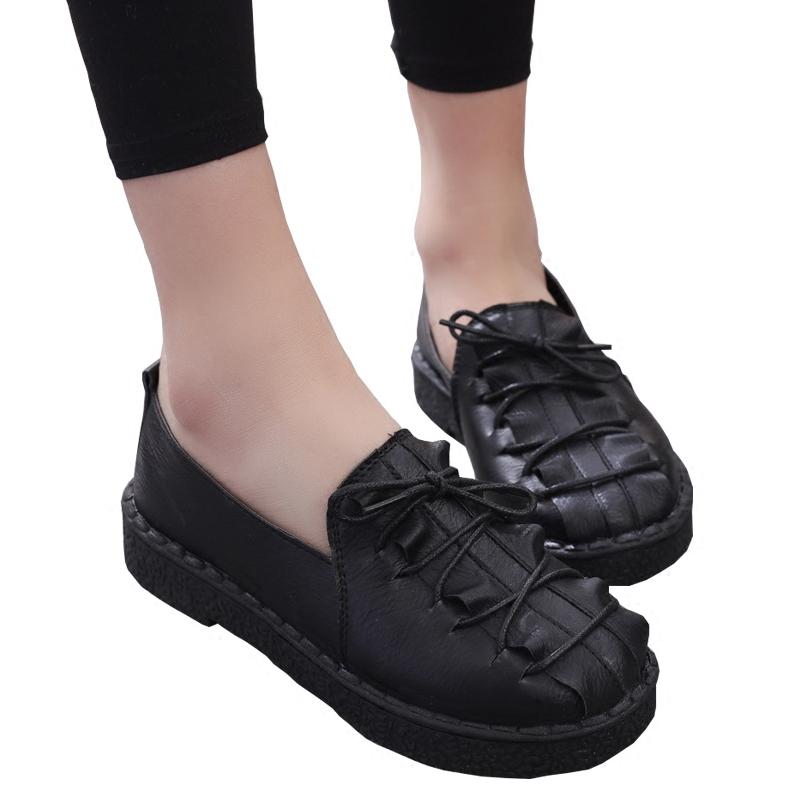 黑色豆豆鞋 新款软底系带豆豆鞋女圆头平底防滑黑色工作鞋百搭一脚蹬学生鞋子_推荐淘宝好看的黑色豆豆鞋