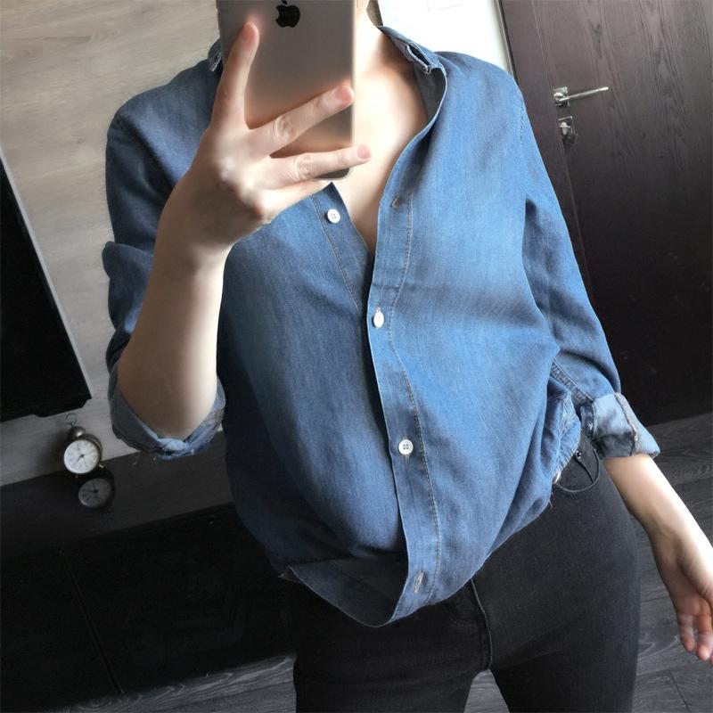 法式衬衫 复古帅气天丝 bf风百搭休闲宽松 薄牛仔衬衫女纯色两种穿法_推荐淘宝好看的女法 衬衫