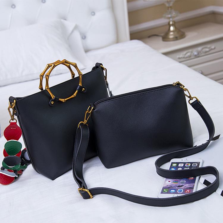 粉红色手提包 新款 子母包大容量时尚单肩斜挎包手提黑色粉红色手机袋女士包袋_推荐淘宝好看的粉红色手提包