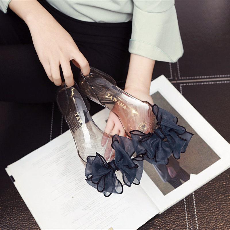 沙滩凉鞋推荐 新款平底凉鞋女夏结果冻鞋沙滩度假水晶透明塑料包跟单鞋_推荐淘宝好看的女沙滩凉鞋