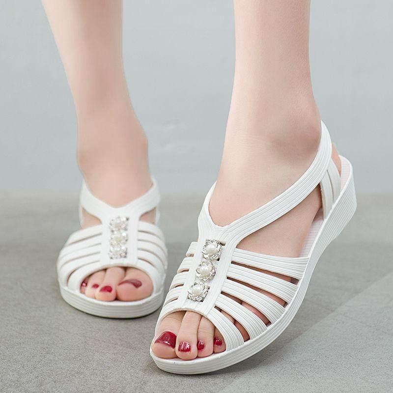 鱼嘴鞋 夏季塑料凉鞋女士工作鞋平跟露趾防滑耐磨塑胶妈妈鞋子_推荐淘宝好看的女鱼嘴鞋