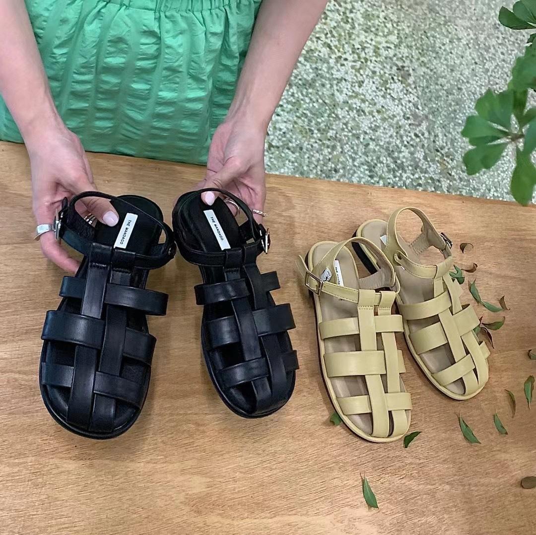 黄色罗马鞋 包头凉鞋女夏平底2021新款韩版黄色编织仙女软皮软底学生罗马鞋子_推荐淘宝好看的黄色罗马鞋