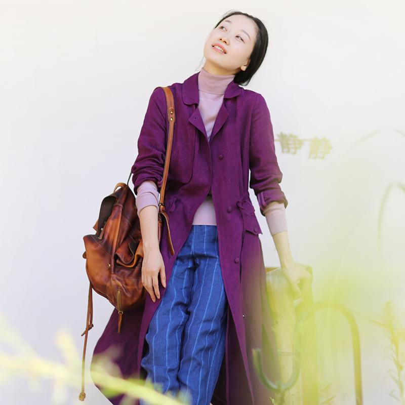 紫色风衣 忘城A116座秋风过耳秋季新款紫色亚麻风衣外套女小翻领宽松_推荐淘宝好看的紫色风衣