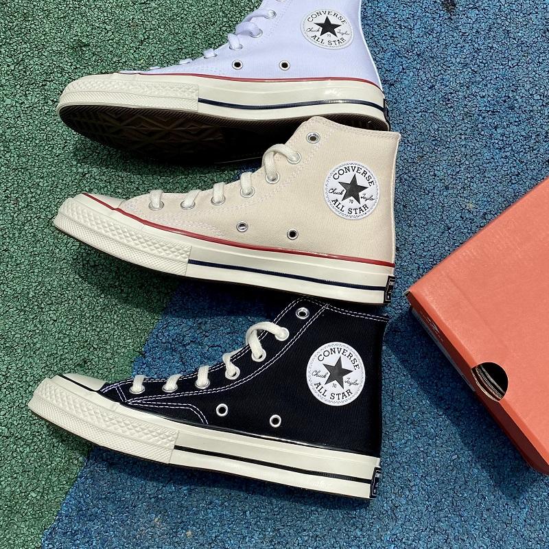 白色帆布鞋 converse匡威1970s黑色白色高帮三星标情侣帆布鞋米白豆沙162050c_推荐淘宝好看的白色帆布鞋