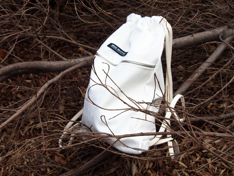 白色双肩包 〖HIDDE NN OTES〗原创抽绳包 抽口双肩包学生书包白色帆布抽绳包_推荐淘宝好看的白色双肩包