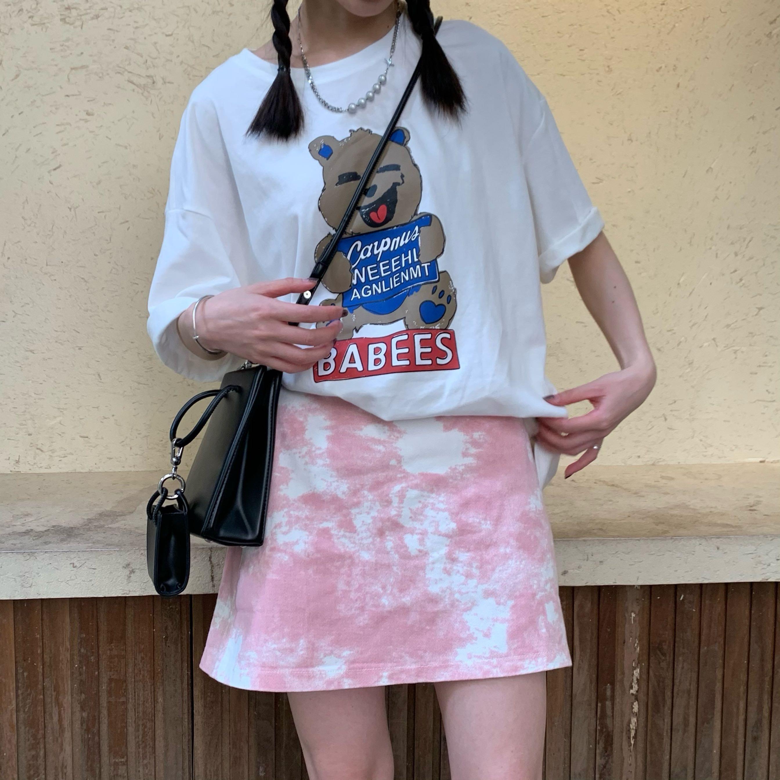 粉红色半身裙 香蕉脱掉了  日系学院风粉红色云朵半身裙 夏季百搭高腰短裙A字裙_推荐淘宝好看的粉红色半身裙