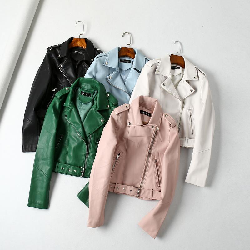 粉红色皮衣 ASG185韩国单机车翻领长袖短款修身PU皮夹克皮衣外套女可拆卸腰带_推荐淘宝好看的粉红色皮衣
