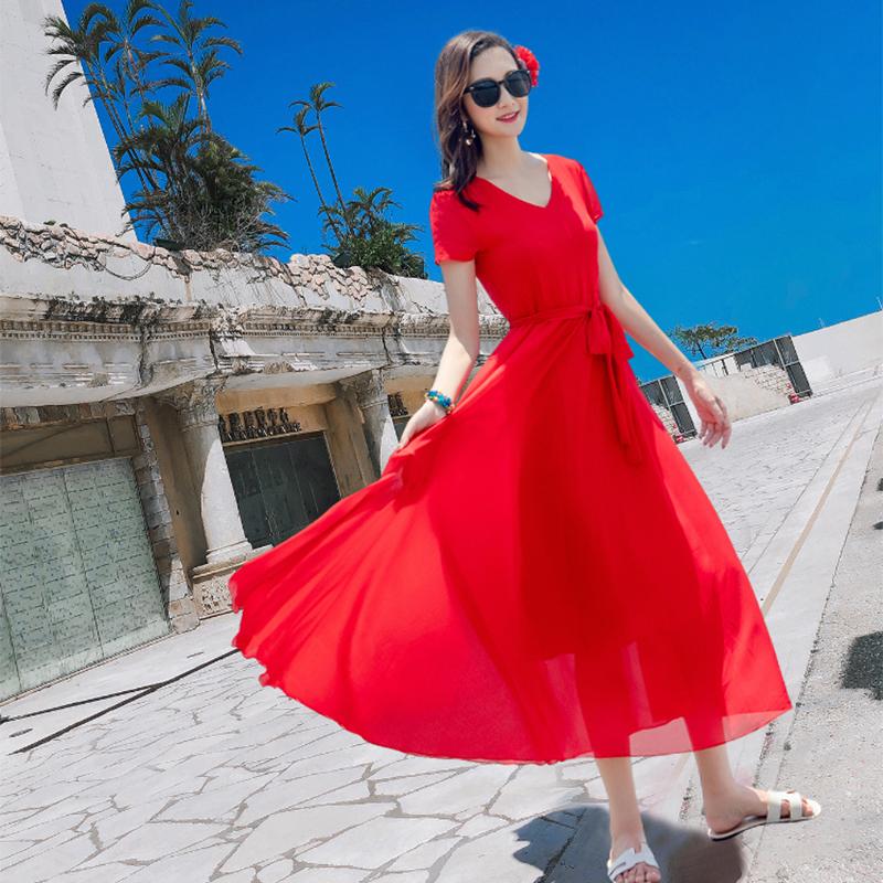 红色连衣裙 雪纺连衣裙短袖夏海南三亚蓝色红色收腰显瘦沙滩裙海边旅游度假裙_推荐淘宝好看的红色连衣裙