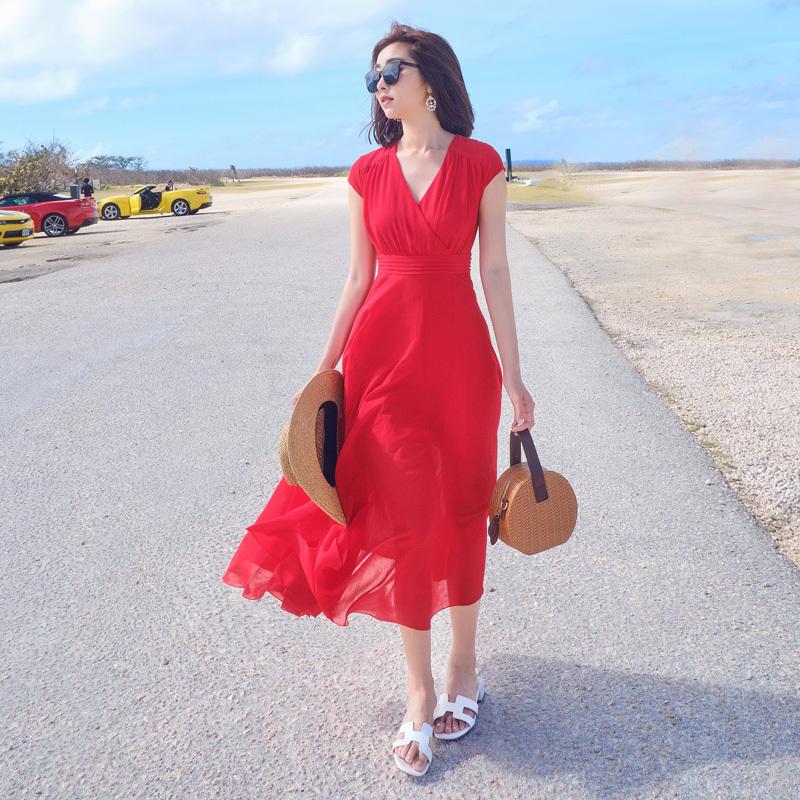 红色连衣裙 大红色长裙波西米亚夏装2021款女海边度假沙滩裙大摆雪纺连衣裙_推荐淘宝好看的红色连衣裙
