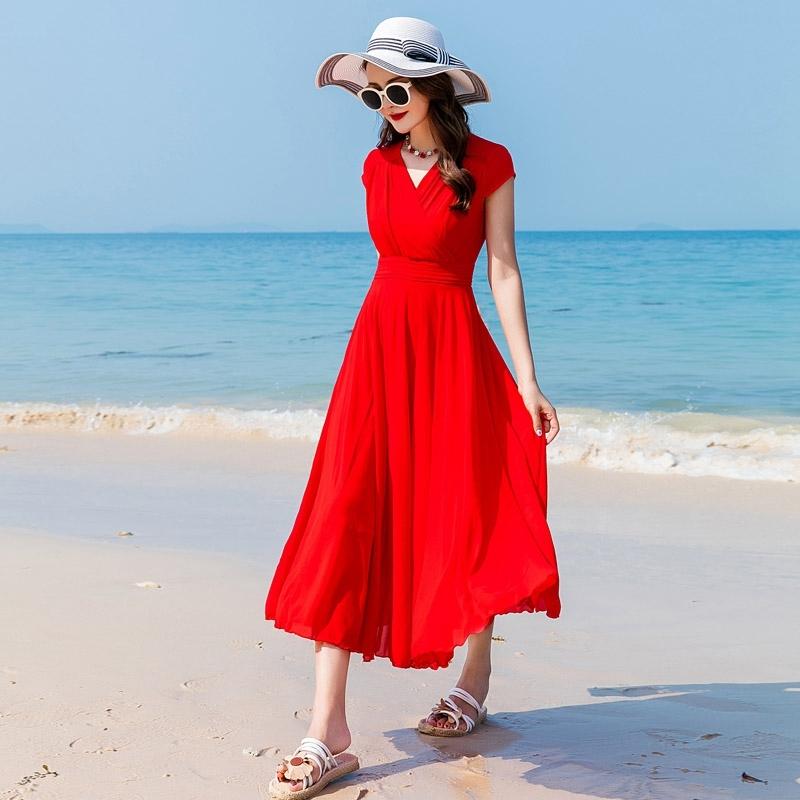 红色连衣裙 2021春夏季大红色连衣裙三亚旅游雪纺演出裙海边拍照度假沙滩裙女_推荐淘宝好看的红色连衣裙