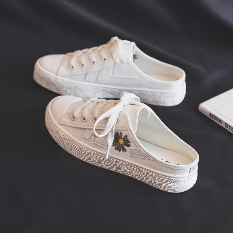 鞋子 E3小雏菊帆布鞋女鞋2020年夏季新款韩版百搭一脚蹬懒人小白鞋子_推荐淘宝好看的女鞋子