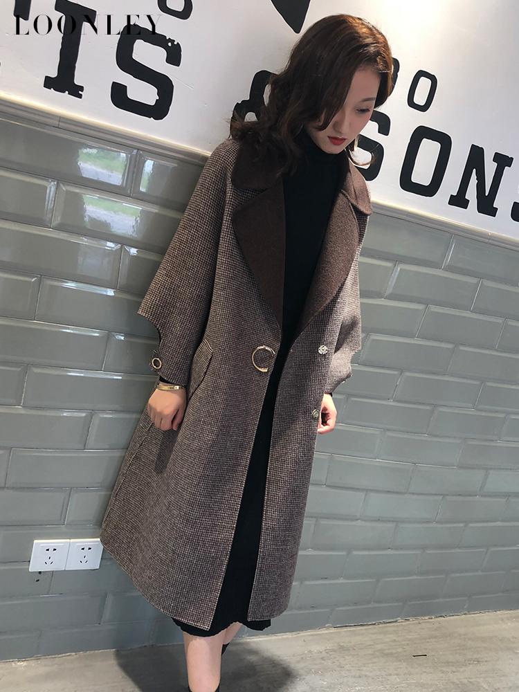 毛呢韩版外套 2020新款羊毛大衣女中长款韩版冬季格子毛呢外套双面呢千鸟格加厚_推荐淘宝好看的女毛呢韩版外套