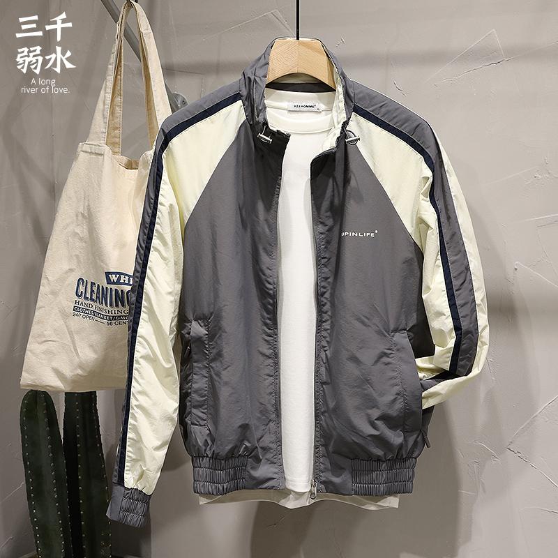 拼接夹克 2020年春季新款帅气立领薄款运动风格夹克男拼接设计男士上衣外套_推荐淘宝好看的男拼接夹克