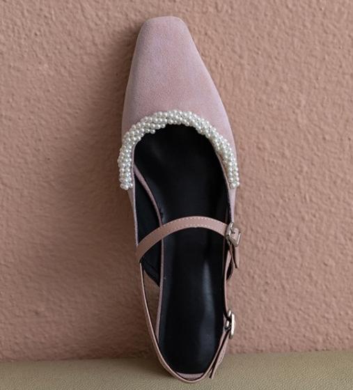 粉红色凉鞋 2020新款夏季珍珠包头中粗跟真反皮磨砂豆沙藕粉红色女凉鞋子后空_推荐淘宝好看的粉红色凉鞋