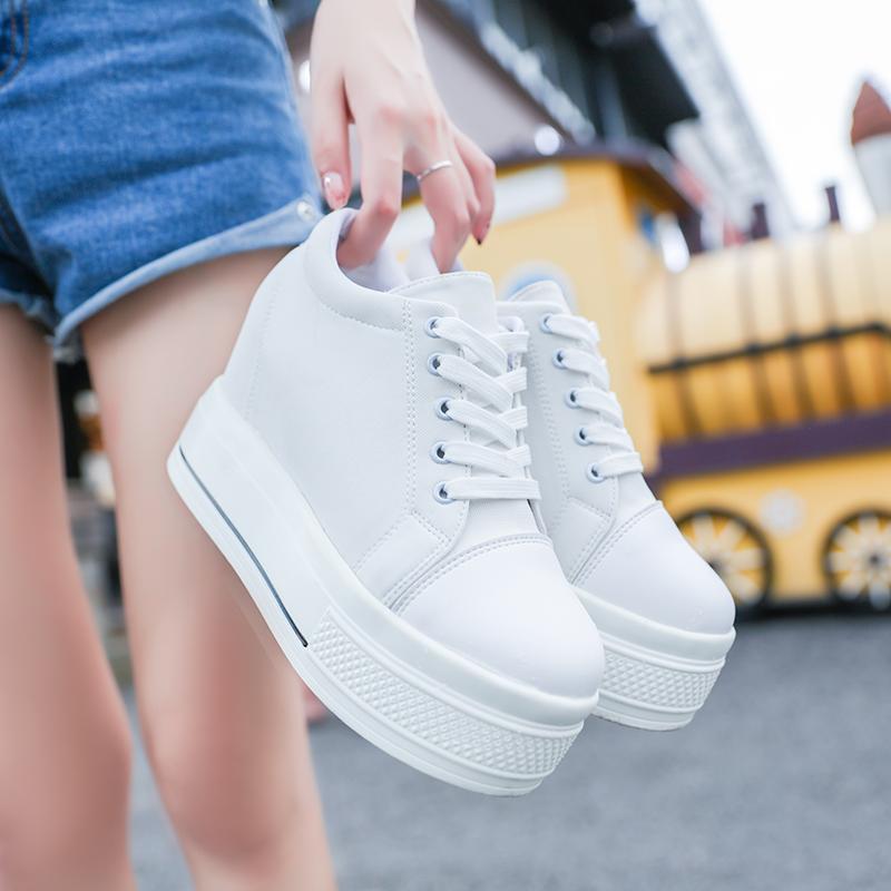 白色松糕鞋 2021低帮帆布鞋女夏韩版学生内增高女鞋子休闲鞋白色厚底松糕单鞋_推荐淘宝好看的白色松糕鞋