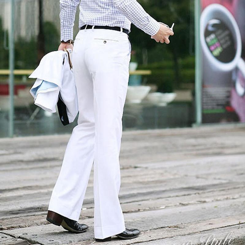 男士白色休闲裤 韩版青年白色喇叭裤男商务修身垂感阔脚西裤时尚休闲百搭免烫男裤_推荐淘宝好看的男白色休闲裤