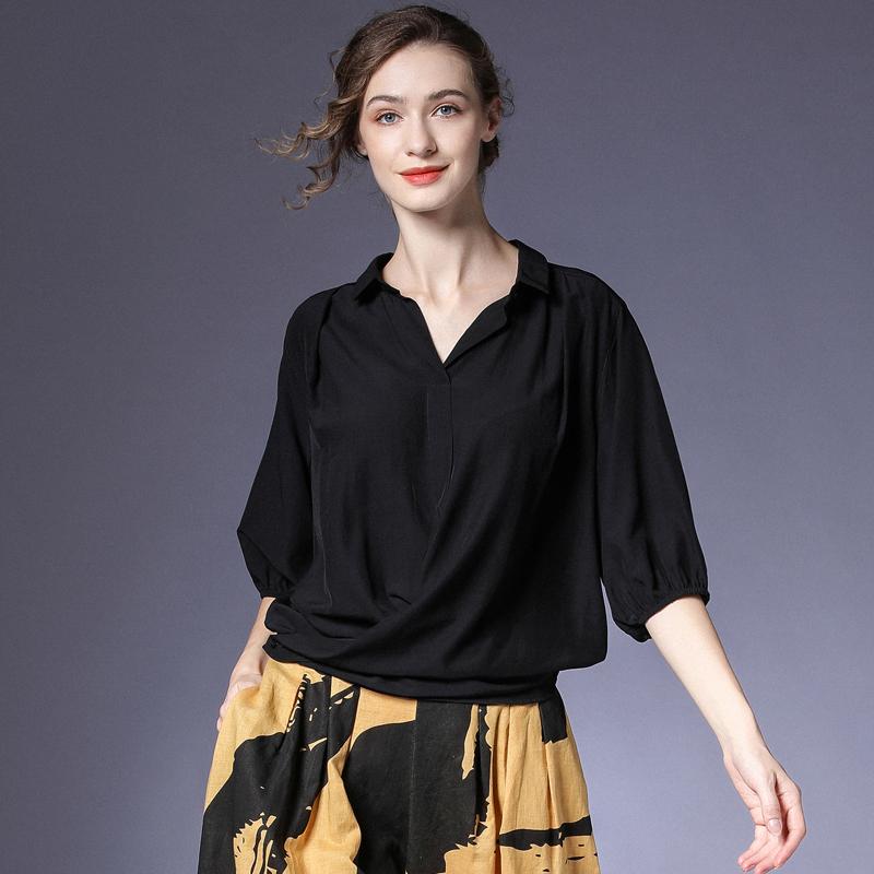 黑色衬衫 咫尺2021夏装新款宽松蝙蝠袖黑色丝滑衬衫女装大码拼接显瘦上衣夏_推荐淘宝好看的黑色衬衫