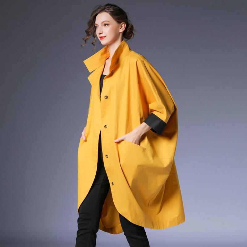 女装风衣外套 咫尺欧美中长款蝙蝠袖风衣女装大码显瘦立领长外套女2020秋装新款_推荐淘宝好看的女装风衣外套