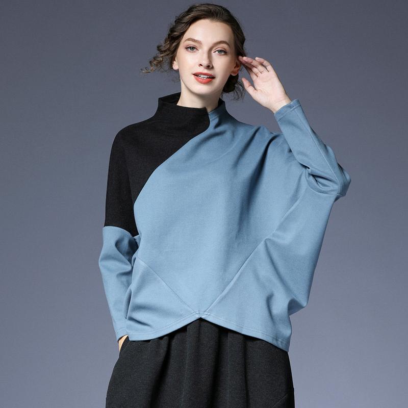 春装 咫尺2021春装新款 宽松蝙蝠袖拼色针织T恤衫女装大码欧美风上衣女_推荐淘宝好看的春装