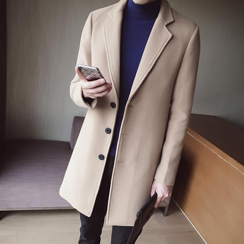 男士长款风衣 。冬天男士毛呢大衣修身帅气超长风衣 男土尼子加棉加厚中长款外_推荐淘宝好看的男长风衣