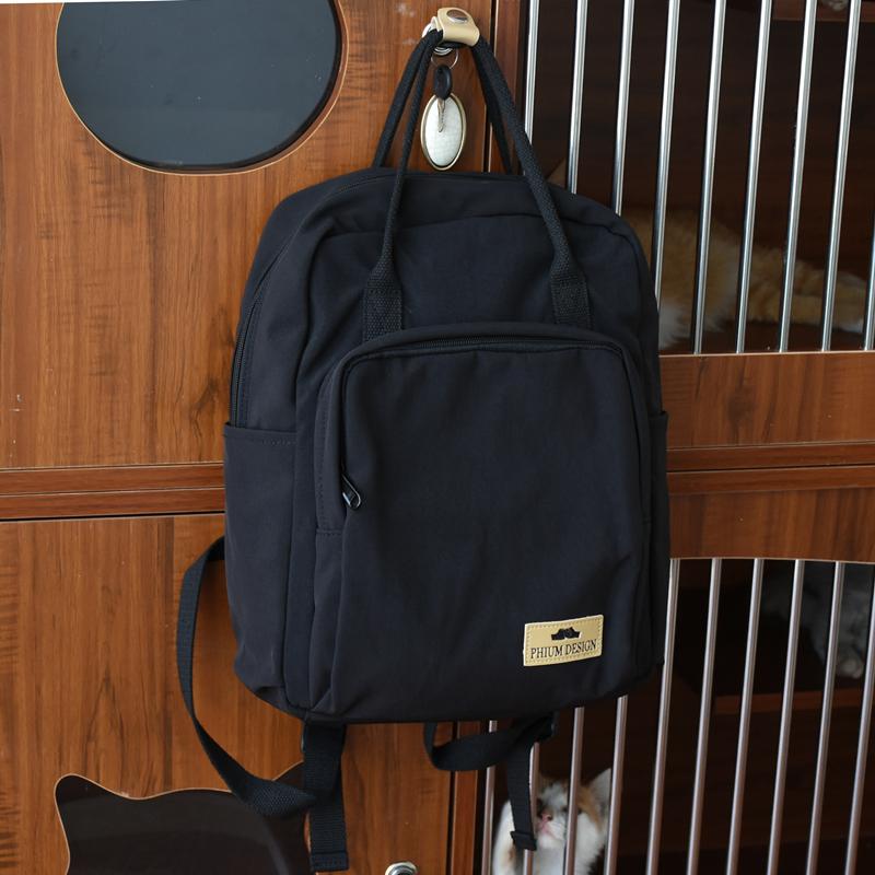 黑色双肩包 书包女夏天原创小众设计日系黑色潮包包小背包2021新款时尚双肩包_推荐淘宝好看的黑色双肩包