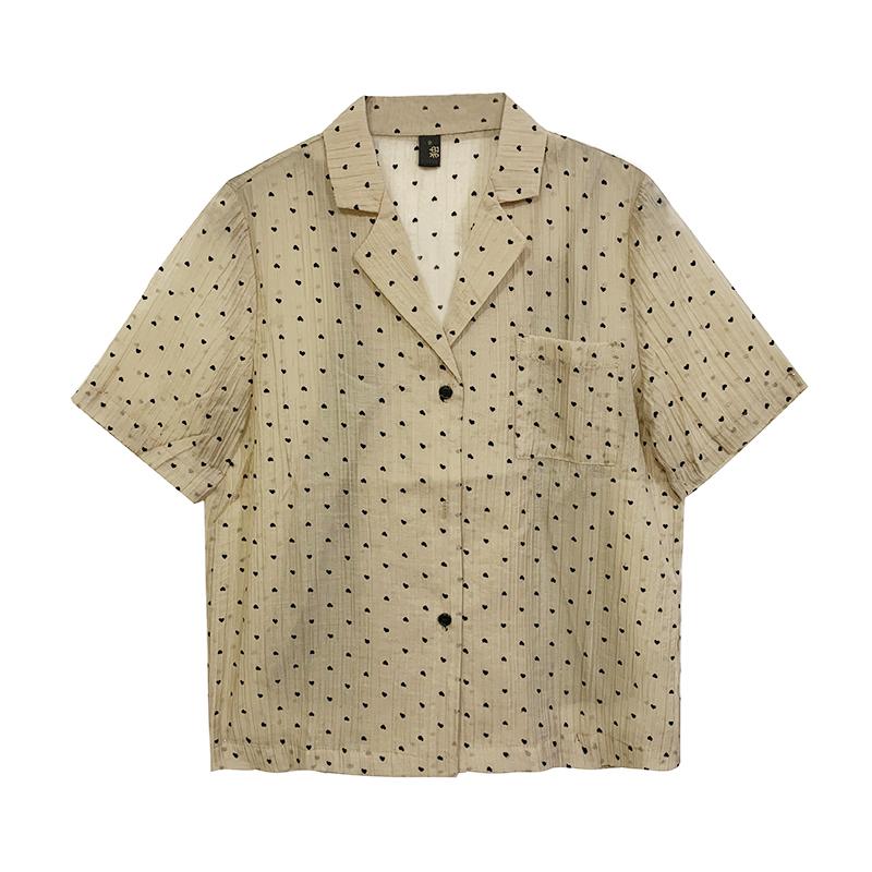 波点衬衫 翻领衬衫女2021夏季新款韩版气质百搭宽松波点图案短袖衬衣_推荐淘宝好看的女波点衬衫