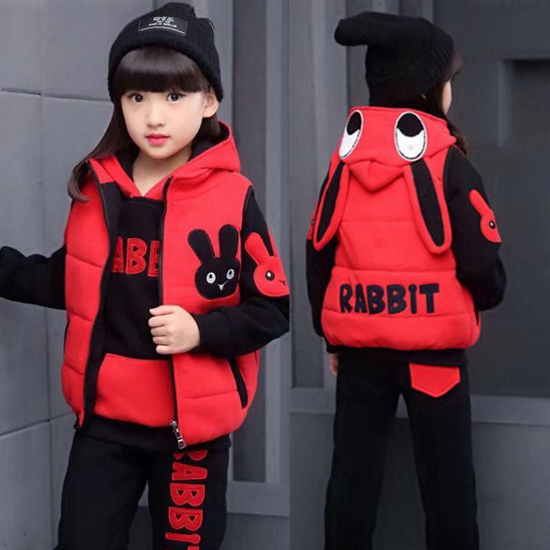 韩版卫衣三件套 女童秋冬装套装2021新款韩版中大童儿童洋气大卫衣加绒加厚三件套_推荐淘宝好看的女韩版卫衣三件套