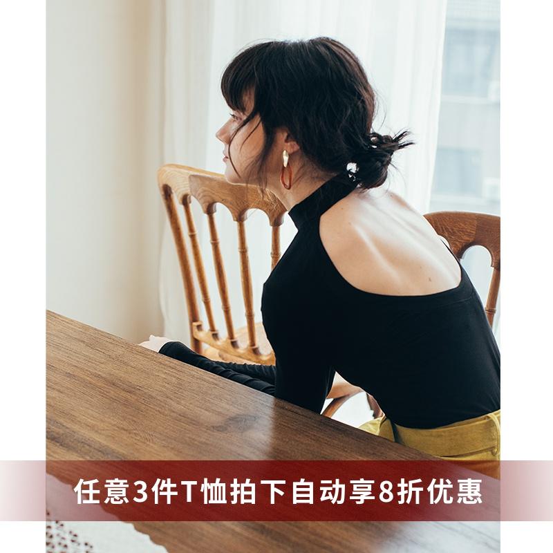 修身打底上衣 黑色露背小心机性感半高领显瘦修身上衣女秋款长袖打底衫薄款T恤_推荐淘宝好看的女修身打底上衣