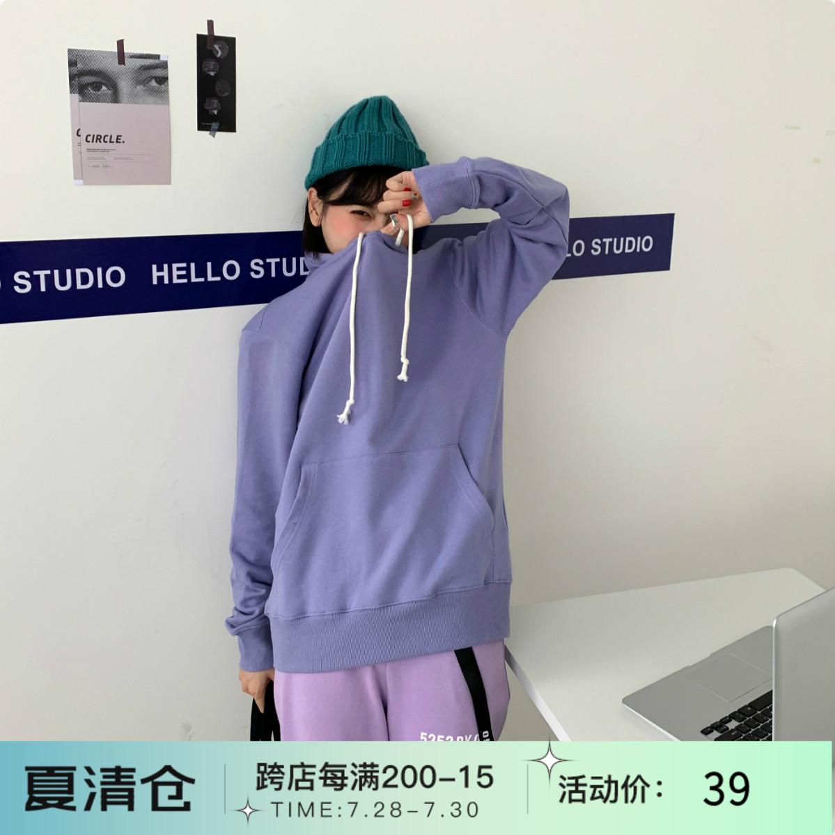 紫色卫衣 疯芝潮牌冠军温柔奶紫色百搭全棉毛圈套头连帽宽松男友风大卫衣_推荐淘宝好看的紫色卫衣