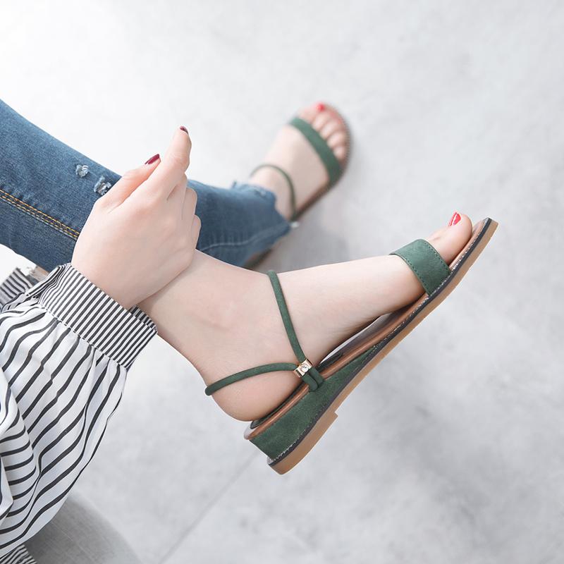 绿色凉鞋 一鞋两穿女凉鞋简约两用拖鞋低跟厚底坡跟平底绿色罗马百搭沙滩鞋_推荐淘宝好看的绿色凉鞋