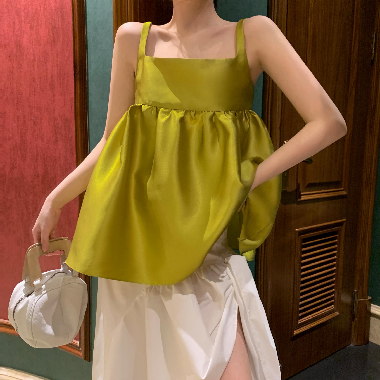 绿色背心 Middletone | 一口奇异果 黄绿色吊带背心可爱蓬蓬娃娃上衣衬衫女_推荐淘宝好看的绿色背心