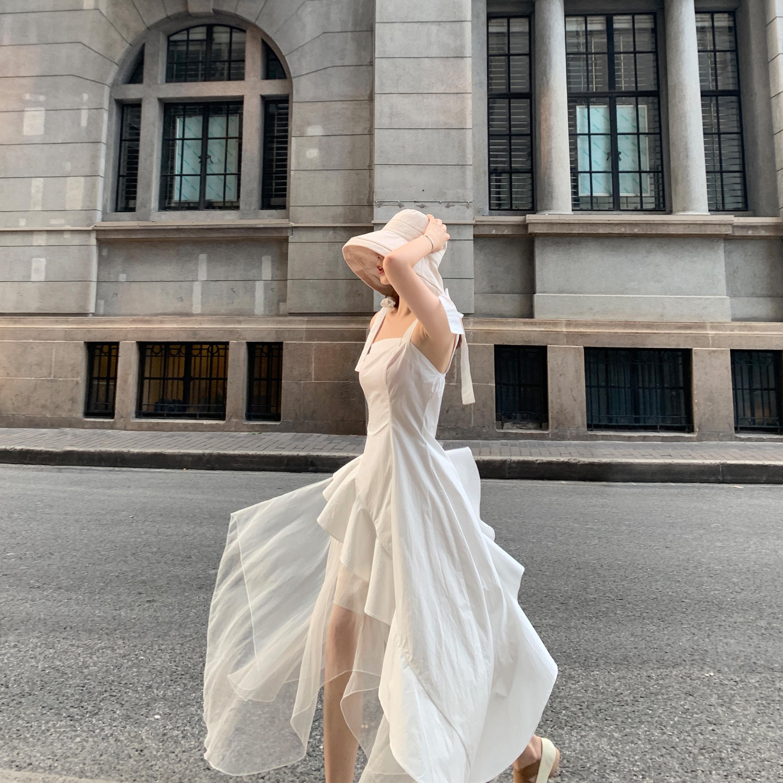 白色连衣裙 Middletone | 落入凡间的仙女 白色超仙真丝两件套连衣裙女中长款_推荐淘宝好看的白色连衣裙