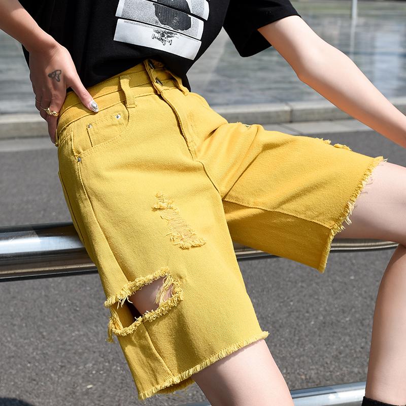 黄色牛仔裤 黄色牛仔五分裤女夏季宽松直筒中筒破洞中裤潮5分老爹裤高腰短裤_推荐淘宝好看的黄色牛仔裤