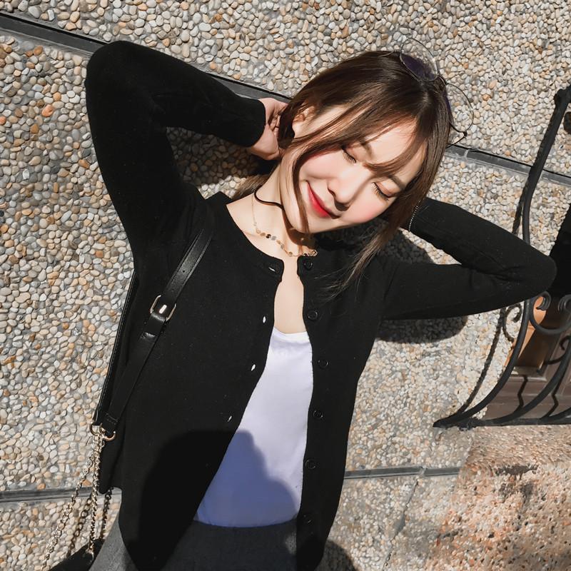 黑色针织衫 针织外套女2021年春款秋季黑色小开衫毛衣外搭冬圆领百搭短款上衣_推荐淘宝好看的黑色针织衫