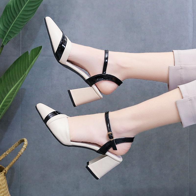 罗马凉鞋 P72新款凉鞋女夏季简约一字扣女鞋子时尚百搭拼色粗跟罗马高跟鞋_推荐淘宝好看的女罗马凉鞋