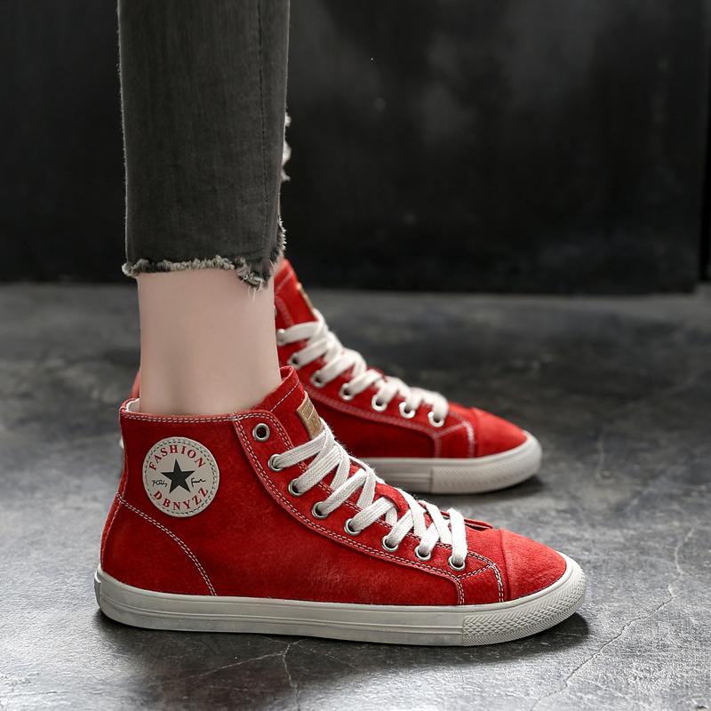 红色运动鞋 红色高帮鞋女复古真皮潮鞋秋冬新款加绒牛皮女鞋运动休闲平底板鞋_推荐淘宝好看的红色运动鞋