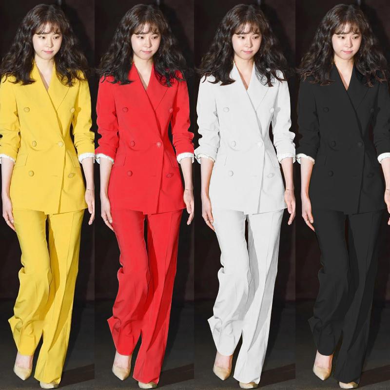 女士小西服 西装套装时尚新款韩版职业女装修身显瘦小香外套西服长裤两件套潮_推荐淘宝好看的女小西装