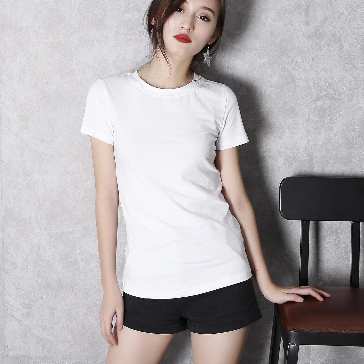 女士纯棉t恤 欧洲站夏季新款纯棉修身显瘦圆领简约体恤短袖紧身白色t恤女装_推荐淘宝好看的女纯棉t恤